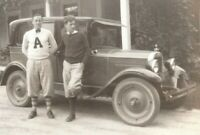 Milford Connecticut Man Wearing Arnold College Sweater Ford Car Vtg 1929 Photo