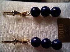 Lapis Lazuli Ohrhänger lang Gold 333, Ohrhänger Gold 333 mit blauem Lapis 6 mm