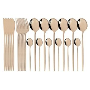 24Pcs Colorful Cutlery Set Stainless Steel Dinnerware Set Knives Forks Spoons