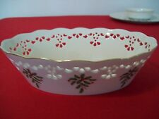 "LENOX HOLIDAY CHINA  PIERCED OVAL BOWL 9""X 6.5"" DIMENSION PATTERN  NWOT"