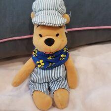 "New Disney Winnie The Pooh as train man Soft Plush Toy 8"" hug new"