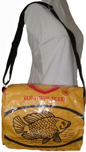 Fair Trade Recycled Messenger Bags Deluxe made in Cambodiafrom Fish Feed Bags!