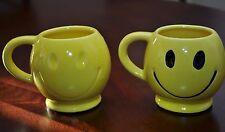 70s Vintage Emoji McCoy Pottery Yellow His & Her's HAPPY FACE Coffee Tea Cup Mug