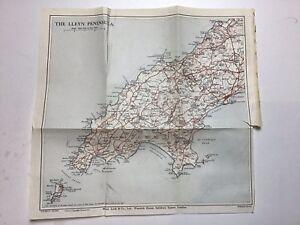 Lleyn Peninsula, 1935 Vintage County Map, Bartholomew, Wales, Original