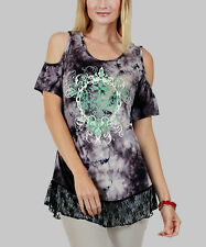 Aster Black Tie-Dye Paisley Off-Shoulder Tunic Scull Cross Lace Hem~MED~NWT $69