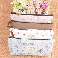 Useful Flower Floral Pencil Pen Case Cosmetic Makeup Bag Storage Pouch Purse New