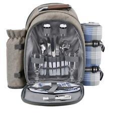 GEEZY 2 Person Picnic Backpack Hamper with Cooler Bag Tableware & Fleece Blanket