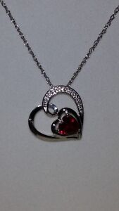 """KAY Jewelers Sterling Silver Heart Shaped Ruby & White Sapphire Necklace (18"""")"""