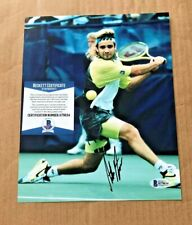 ANDRE AGASSI SIGNED 8X10 YOUNG TENNIS PHOTO BECKETT CERTIFIED