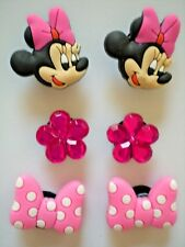 Jibbitz Clog Charms Fit Crocs Holey Clogs 6 MINNIE MOUSE Bows Crystal Flowers