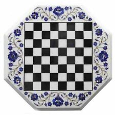 "15"" Marble Chess Table Top Semi Precious Lapis stones Handmade Home decor gift"