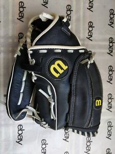 """Wilson A440 Fast Pitch Softball Glove 12"""" Black Leather Right Hand Throw"""