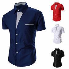 Stylish Men's Slim Fit Casual Shirt Tops Summer Short Sleeve Formal Dress Shirts
