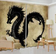 Black Dragon Vintage 3D Printing Blockout Curtain Window Treatments Set 2 Panels