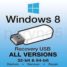 *USB WINDOWS 8 ALL VERSIONS Recovery Install Reinstall Restore USB Flash Drive