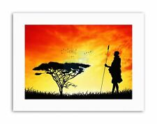 MOCK UP Silhouette SUNSET Masai GUERRIERO Poster in Tela Militare art prints