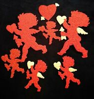 7 Vintage Melted Plastic Popcorn Decorations Valentine's Day  Cupids & Hearts