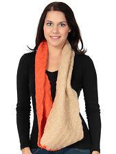 Womens Neck Warmer Scarf 2 Tone Crochet Knit Infinity Circle Loop Long Scarf