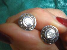 STUNNING GENUINE ANTIQUE 1 CT LRG ROSE CUT DIAMOND 14K EARRINGS/STUDS