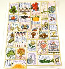 "Design Works CELEBRATE THE YEAR Holiday Sampler COMPLETED Handmade 16"" x 20"""