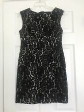 Calvin Klein Sleeveless Lace Black Beige Floral Dress Size 8P