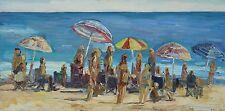 Zuma Beach bathers Malibu Plein Air Impressionism Landscape John Kilduff 24x48