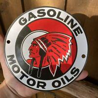 VINTAGE McCOLL-FRONTENAC PORCELAIN METAL SIGN MOHAWK CHIEF OIL STATION GAS PUMP