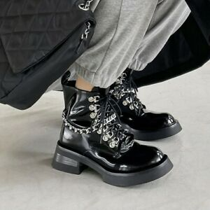 Womens Vogue Patent Leather Metal Chain Lace Up Platform Combat Boots Shoes VICT