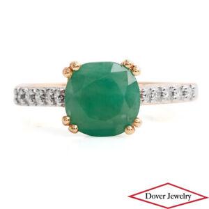 Estate Diamond 2.20ct Emerald 10K Gold Cushion Ring NR