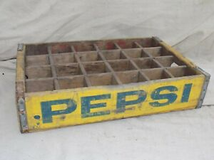 Yellow Pepsi Cola Wood Crate Case w/ Dividers 1970's Vintage - NICE!!