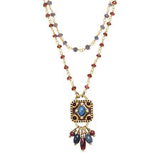 MICHAL GOLAN Lazuli Collection Garnet & Lapis Beaded Goldtone Chain Necklace