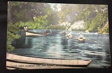 Vintage 1909 New Albany Indiana IN Glenwood Park Silver Creek Boats Postcard