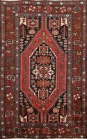 Vintage Hamedan Hand-knotted Geometric Area Rug Tribal Oriental Foyer Carpet 4x6