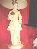 ANTIQUE, Vintage Mid-Century Figural Victorian MAN Ceramic Lamp w/Lamp Shade