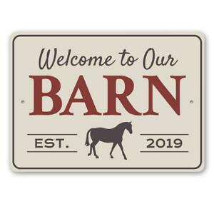 Welcome to Our Barn Est. Year, Custom Family Sign, Old Western Metal Sign