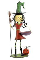 39 Inch Witch with Candy Bowl and Broom Halloween Decoration Porch Greeter