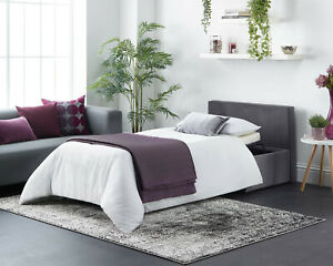 Footstool Sofa Bed Foldaway Single Guest Bed with Mattress In Linen or Velvet