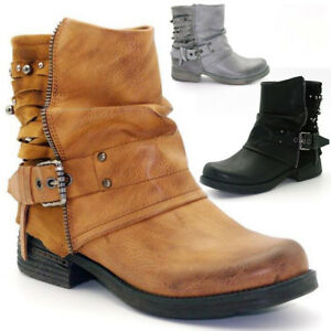 Womens Studded Casual Ankle Boots Vintage Ladies Motorcycle Belt buckle Shoes