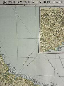 1919 Grande Mappa ~ South America North East ~ Brasile Guiana Inset Rio De