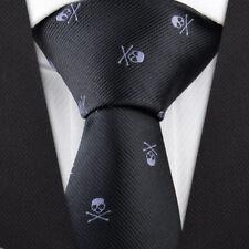 Men's Fashion Black Skull Necktie Wedding Party Neck tie Narrow Slim Skinny