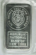 Sealed Johnson Matthey Republic National Bank of New York 1 Ounce 999 Silver Bar