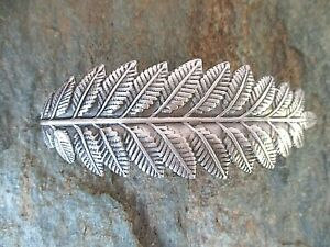 Leaf Silver Plated with French Clip Hair Barrette 70MM Clip Made in USA 6008S