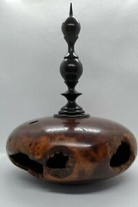 Bruce Bernson 1989 Signed Lidded Vessel in Wild Lilac and Ebony - Spectacular!