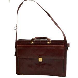 RENWICK Canada Vintage Leather Executive Briefcase Shoulder Strap Bag Satchel