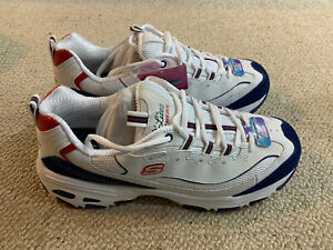 Skechers D Lites March Forward ladies trainers   white/blue/red   size 8   new