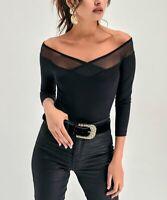New Laviva Long Sleeve Mesh-Contrast Off-Shoulder Top (Black, US 10 / EU 42)
