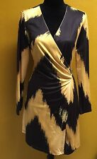 Ark & Co. V- Neck Black And Yellow Long Sleeve Wrap Dress Size M