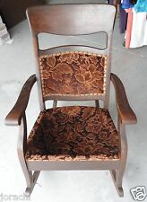 ANTIQUE UPHOLSTERED ROCKING CHAIR, CIRCA; EARLY 1900u0027S NEEDS SPRINGS