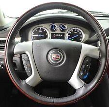Cadillac Brand OEM Walnut Wood & Black Leather Steering Wheel Escalade 2007-2014