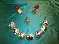 ~ 12 alte Christbaumkugeln Glas Reflexkugeln silber weiß Nüsse Weihnachtskugeln